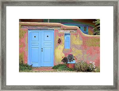 Blue Door In Ranchos Framed Print