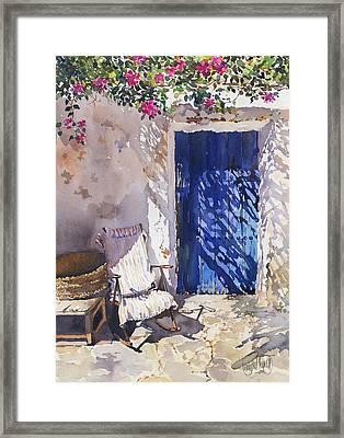 Blue Door Framed Print by Margaret Merry