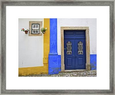 Blue Door Of Medieval Obidos Framed Print by David Letts
