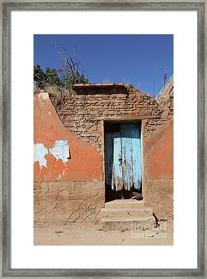 Blue Door Olinala Mexico Framed Print by Linda Queally