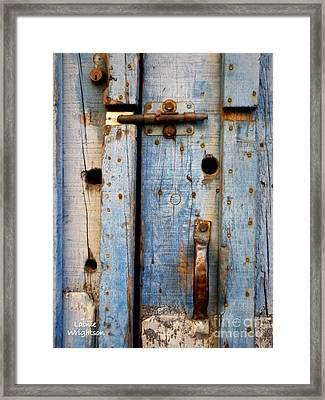 Blue Door Weathered To Perfection Framed Print