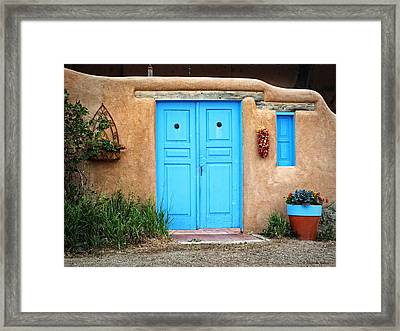 Blue Doors Of Taos Framed Print by Lucinda Walter
