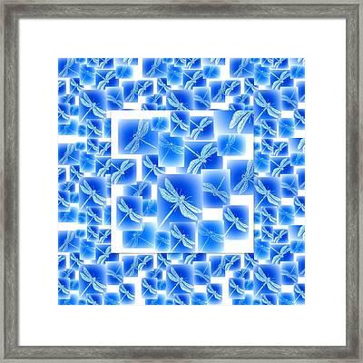 Blue Dragonflies Framed Print