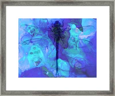 Blue Dragonfly By Sharon Cummings Framed Print