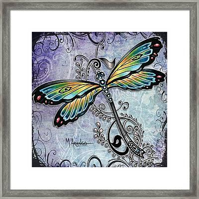 Blue Dragonfly Framed Print by Maria Arango