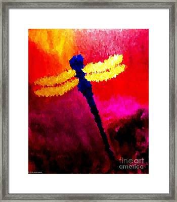 Blue Dragonfly No 2 Framed Print by Anita Lewis