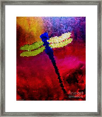 Blue Dragonfly No 3 Framed Print by Anita Lewis