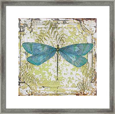 Blue Dragonfly On Vintage Tin Framed Print by Jean Plout