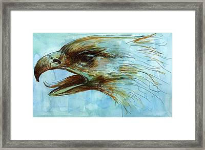 Blue Eagle Influenced By Past Master Framed Print