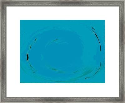 Framed Print featuring the digital art Blue Oval by Phoenix De Vries