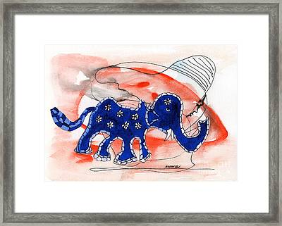 Blue Elephant In A Museum Framed Print