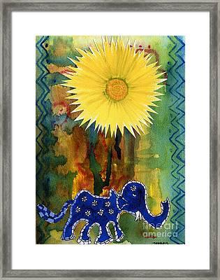 Blue Elephant In The Rainforest Framed Print