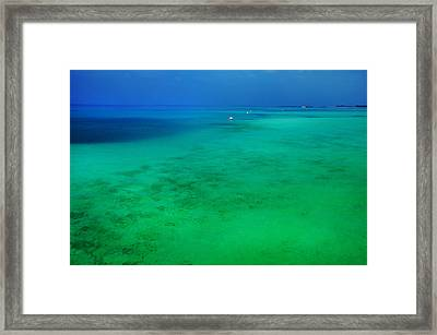 Blue Emerald. Peaceful Lagoon In Indian Ocean  Framed Print