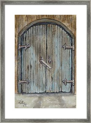Framed Print featuring the painting Blue Entrance Door Has Stories by Kelly Mills