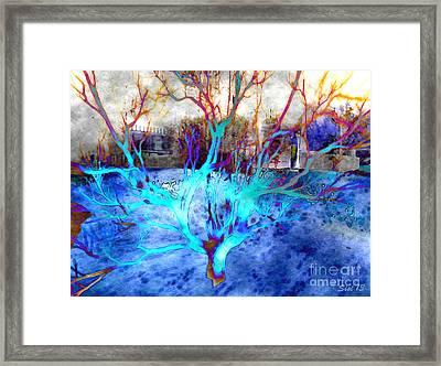 Blue Explosion Framed Print