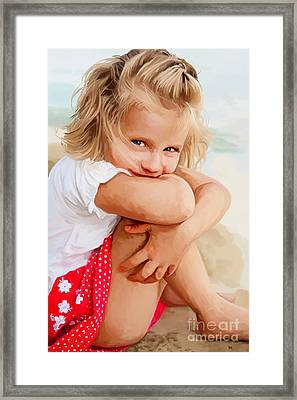 Framed Print featuring the painting Blue Eyed Girl by Tim Gilliland