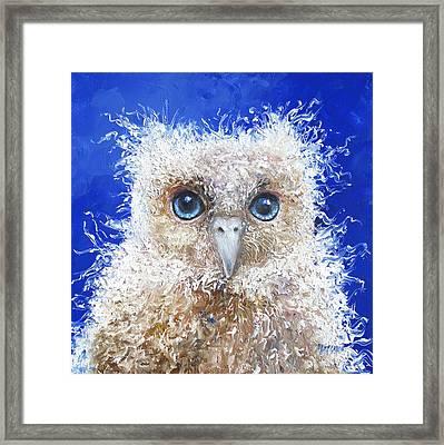 Blue Eyed Owl Painting Framed Print