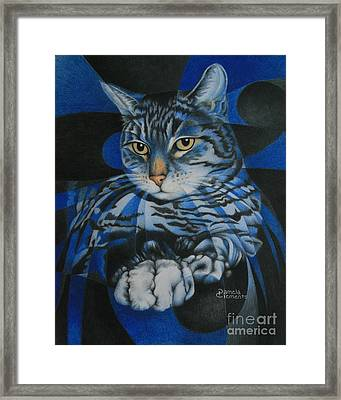 Blue Feline Geometry Framed Print by Pamela Clements