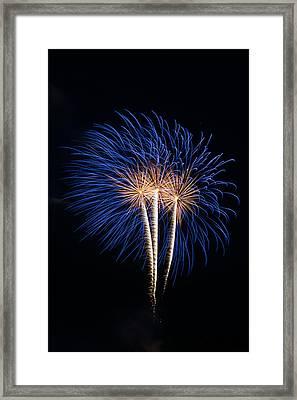 Blue Fireworks Framed Print