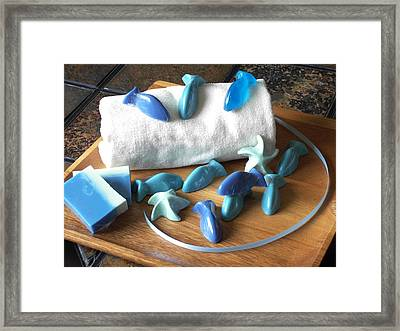 Blue Fish Mini Soap Framed Print