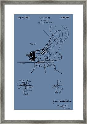 Blue Fishing Fly Patent Framed Print by Dan Sproul