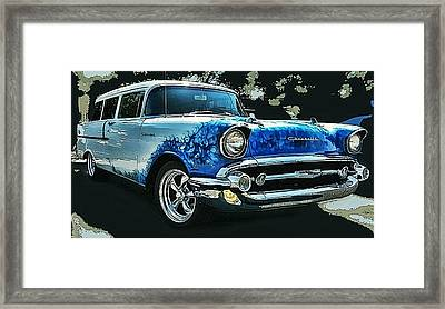 Blue Flames '57 Framed Print by Victor Montgomery