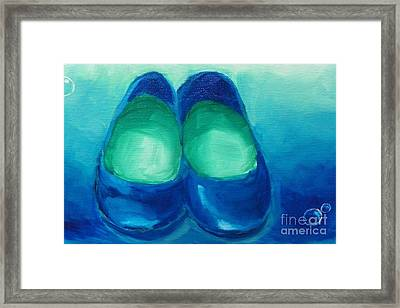 Framed Print featuring the painting Blue Flats by Marisela Mungia