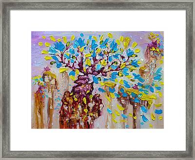 Blue Flower Painting Tree Art Oil On Canvas By Ekaterina Chernova Framed Print