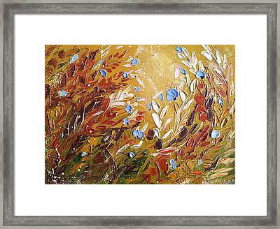 Blue Flowers Abstract Painting  Framed Print