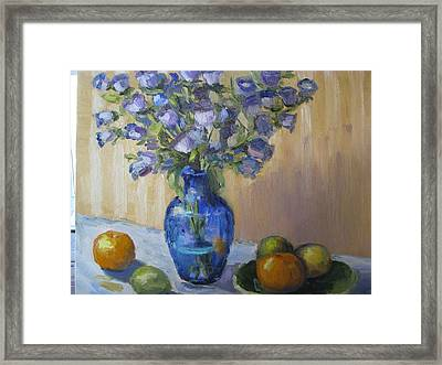 Blue Flowers And Fruit Framed Print