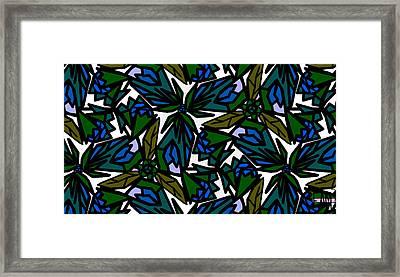 Framed Print featuring the digital art Blue Flowers by Elizabeth McTaggart