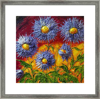 Blue Flowers Framed Print by Paris Wyatt Llanso