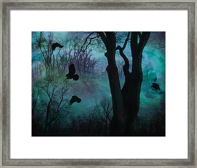 Blue Forest Blackbirds Dance Framed Print
