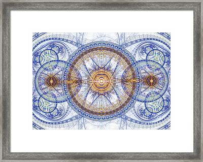 Blue Fractal Inception  Framed Print
