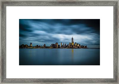 Blue Freedom Tower Framed Print by Chris Halford