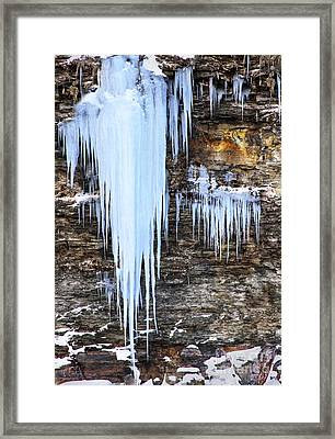 Blue Frozen Icicle Stalactites Framed Print