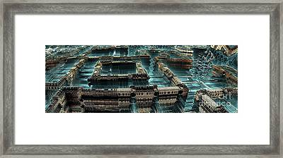 Blue Future City Framed Print by Bernard MICHEL