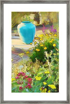 Blue Garden Pot Framed Print