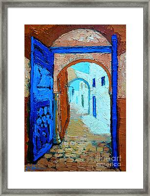 Framed Print featuring the painting Blue Gate by Ana Maria Edulescu
