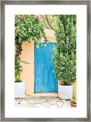 Blue Gate Framed Print by Tom Gowanlock