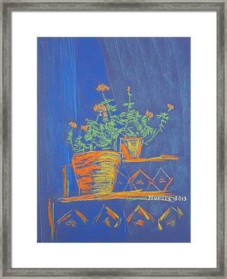 Blue Geranium Framed Print by Marcia Meade
