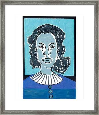 Framed Print featuring the drawing Blue Girl by Don Koester