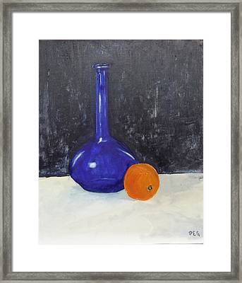 Blue Glass And Orange Framed Print by Peter Edward Green