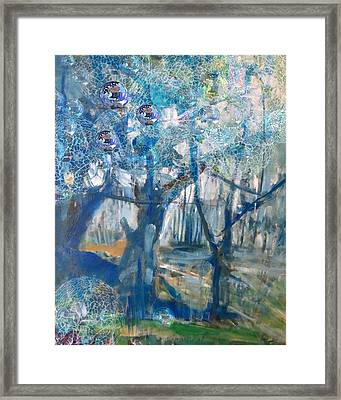 Blue Glass Bead Tree Framed Print