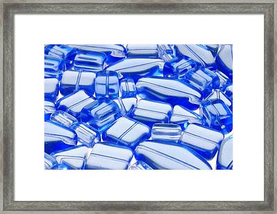 Blue Glass Beads Framed Print by Jim Hughes