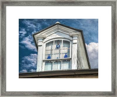 Blue Glass In Window Framed Print by Brenda Bryant