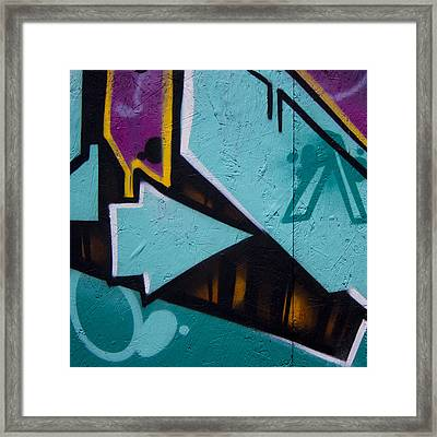 Blue Graffiti Arrow Square Framed Print by Carol Leigh