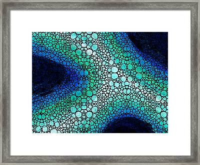 Blue Green Energy - Stone Rock'd Art Panting Framed Print