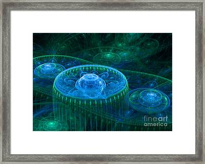 Blue Green Fantasy Landscape Framed Print