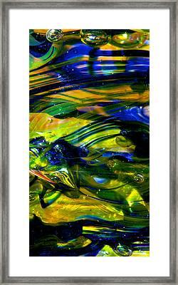 Blue Green Glass Macro Framed Print by David Patterson
